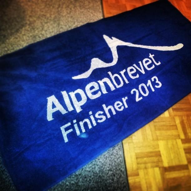 Als aandenken krijg je bij de finish een ...handdoek.